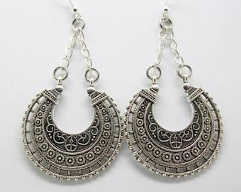 Silver Tribal Earrings - Antique Silver Tribal Earrings - Hippy - Boho - Tribal - Gypsy - Festival - Ethnic Earrings - Hoop Earrings