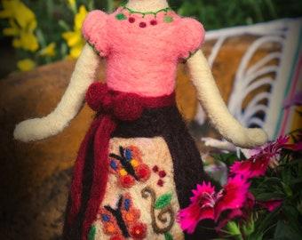 Needle Felted Doll-Felt Butterfly-Felt doll-Fibre art