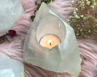 QUARTZ CRYSTAL candle holder // free unscented tealight included // 1.5lbs large