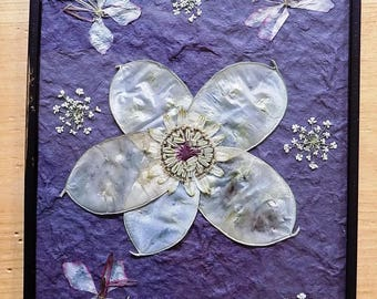 Pressed Flower Picture: 'Honesty''. Hand-made, unique pressed flower picture. Gift for her.