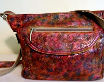 "Stone & Co. Leather Handbag ""Rosy Outlook"", Hand Painted, One of a Kind"