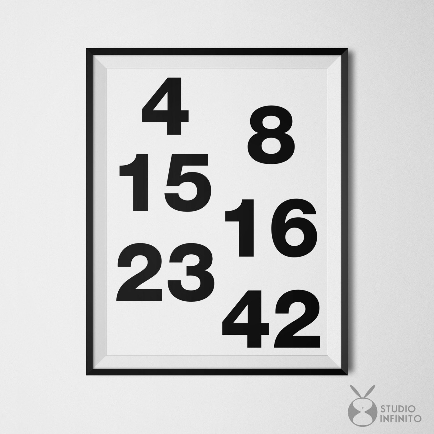Lost Tv Show Poster Lost Numbers Wall Art Black and White