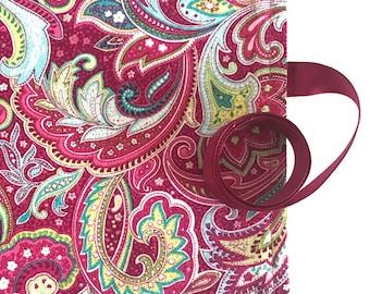 Crochet Hook Organizer Case Magenta Pink Paisley Fabric