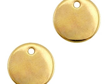 DQ metal Gravurplättchen, blank pendant-1 piece-gold-Zamak-Ø selectable (Ø:: 12 mm)