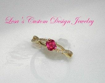 Natural Ruby Diamond 10kt gold Ring
