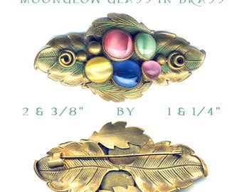 Brooch  ~ Large Brass Flora-foliate Design Enhanced with Bezel-set Moonglow Glass Jewels