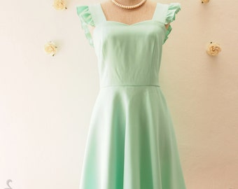 Mint Green Bridesmaid Dress Vintage Modern Dress Sweet Sundress Summer Dress Swing Skirt Dress Skater Dress , custom