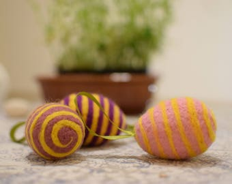 Felted Easter striped eggs Set of three Handmade home decor Needle felted eggs Spring ornaments Easter home decor