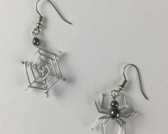 Spider Web Earrings, Wire with Hematite Beads