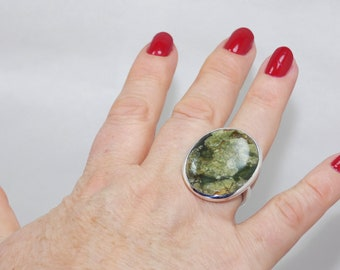 Natural Rain Forest Jasper 925 Silver Ring