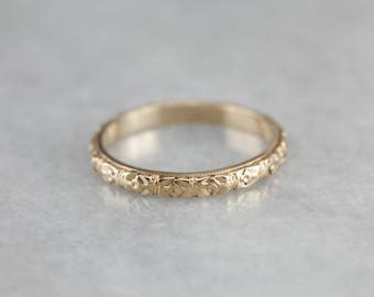 Antique Forget-Me-Not Band, Floral Patterned Band, Yellow Gold Band, Wedding Band, Stacking Band 66K26DX3-D