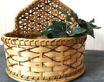 woven wall basket - bamboo planter - wall pocket - key mail catchall basket