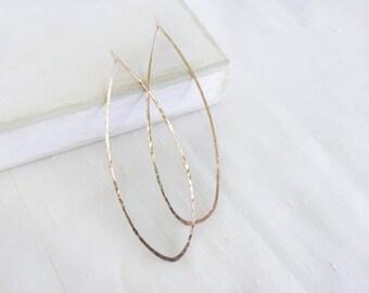 14K Gold Fill Earrings, Hoop Earrings, Large Oval Earrings, Hammered Earrings, Gold Hoop Earrings, Gold Earrings, By Durango Rose