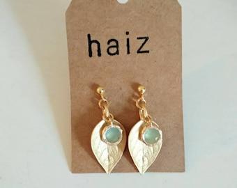 Green Stone leaf Earrings