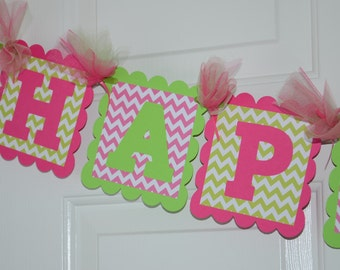 Chevron Happy 1st Birthday Banner, Birthday Party, Chevron Theme, Hot Pink and Lime Green