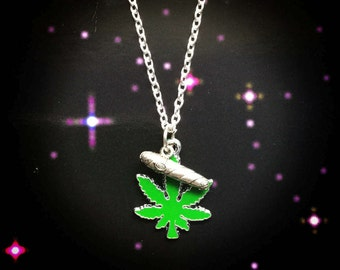 Cannabis and Blunt necklace, Weed, pot leaf, stoner girl