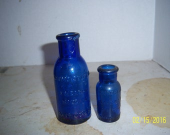 1890's Lot of 2 Bromo Seltzer Emerson Drug Co Baltimore, MD 2 1/2 to 4   inch cobalt blue medicine bottles No 2