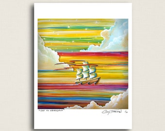 Off To Neverland - a flying ship in a rainbow sky - Limited Edition Signed 8x10 Semi Gloss Print (3/10)