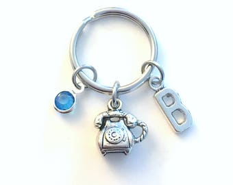Gift for Secretary Keychain, Telephone Key Chain, Phone Operator Keyring, Telecom Letter Initial Present Assistant Jewelry employee her him
