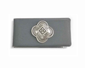 Metal Money Clip Quaterfoil Inlaid in Hand Painted Enamel Gray Opaque Glossy Finish Custom Colors and Personalized Options