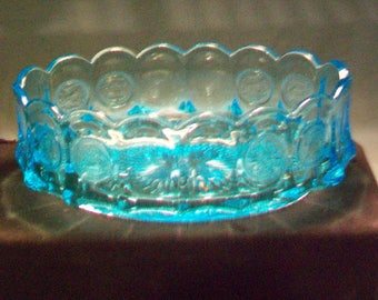 Fostoria Colonial Blue Coin Oval Bowl