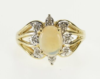 10k Oval Opal* Diamond Petal Halo Accented Ring Gold
