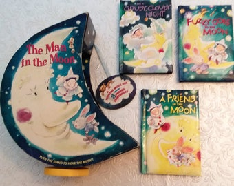 Music Box, The Man in The Moon,  Rotating nursery decor plays Clair de lune, three story books, vintage nursery decor.
