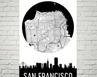 San Francisco Skyline, San Francisco Map, San Francisco Skyline Art, Canvas Art, City Map, San Francisco CA, California, Print, Poster