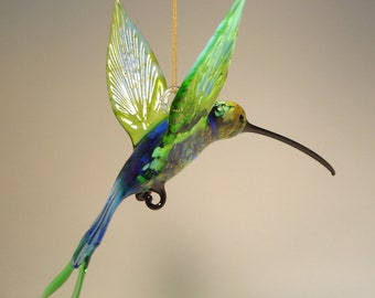 Blown Glass Figurine Bird Hanging Swallow Tail Green and Blue HUMMINGBIRD Ornament