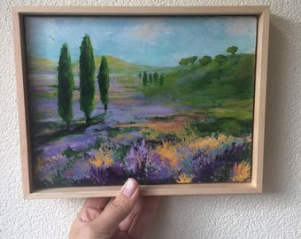 Original painting, landscape painting, colorful, mini painting, tiny art, contemporary art, gift for her, christmas gift, lavendel field