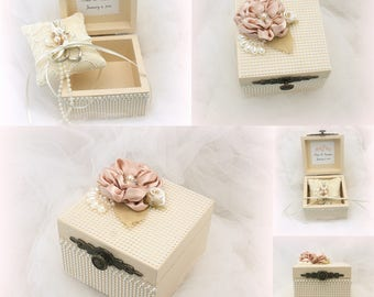 Personalized Wedding Ring Box Champagne Blush with Pearls Vintage Style Shabby Chic
