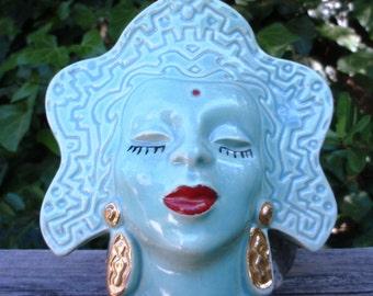 Sale Vintage Goddess Wall Pocket Turquoise Blue Gold Earrings Vase Bindi Mint Epsteam