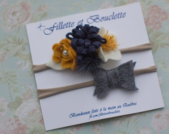 Two headbands for baby. Ochre, white felt flowers assorted off-white and Navy and grey mink Pompom / grey Terry.