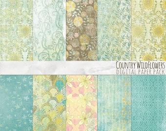 Vintage Scrapbook Backgrounds, Shabby Chic Floral Digital Paper, Wild Flower Pattern Background, Country Sunshine Digital Scrapbook Paper
