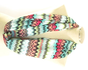 Aztec Infinity Scarf - Multicolor Aztec Circle Scarf - Chevron Infinity Scarf