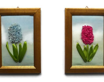 Fiber Art Embroidery Painting Ribbon flowers picture Wall hanging Textile Home decoration  gift for her