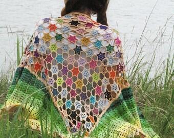 "Summer shawl - crochet cotton shawl - OOAK shawls wrap - handmade wrap - boho openwork shawl - hand crochet stole - boho cotton wrap ""Flora"""