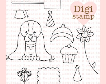 Sweet Basset Hound Digital Stamp - Basset Hound Digital Stamp - Digital Dog Stamp - Dog Art - Dog Card Supply - Dog Craft Supply