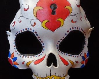 Leather Sugarskull Mask: Keyhole heart