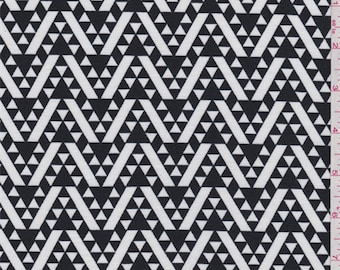 Black/White Geometric Double Knit, Fabric By The Yard