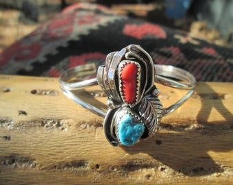 Coral,Turquoise and Sterling Silver Cuff Bracelet