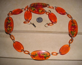 Vintage Signed Hong Kong Hand Painted Orange Lucite Necklace 1960's Jewelry 35