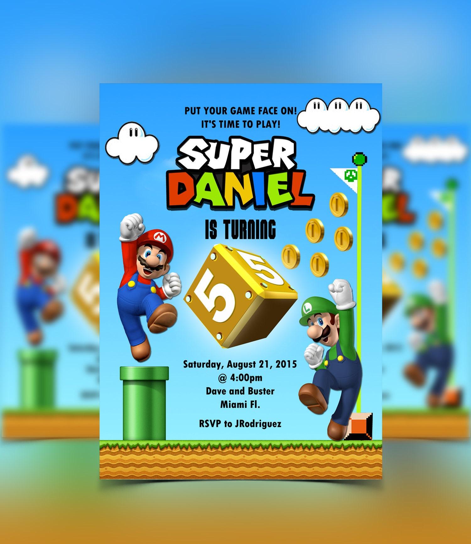 Super Mario Invitation Mario & Luigi Mario Bros Birthday