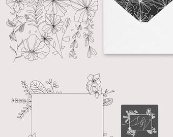 6 Flower Lineart Illustrations