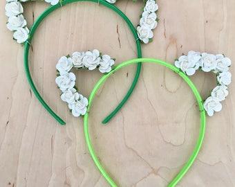 Green Flower Cat Ears Headband