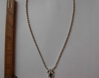 1970s Silver and Rhinestone Necklace