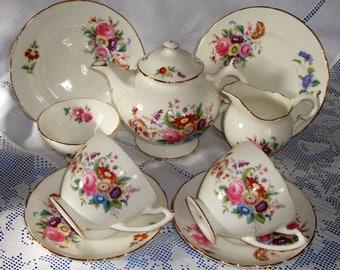 Vintage COALPORT JUNE TIME Tea Set For Two Hand Gilded