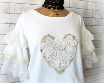 Ruffle Sleeve Top White Lace Shirt Heart Clothing Romantic Frilly Boutique Fashion Shabby Chic Top Country Sweater Women's Wear M 'SIERRA'