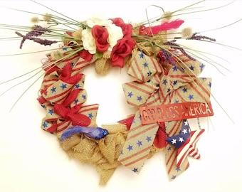 God Bless America - Patriotic Wreath