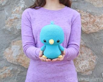 PATTERN: Cuddle-Sized Bluebird Amigurumi, Crocheted Bird Pattern, Bluebird Toy Tutorial, PDF Crochet Pattern